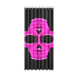 "psychedelic pink skull face portrait with black background Window Curtain 50"" x 108""(One Piece)"