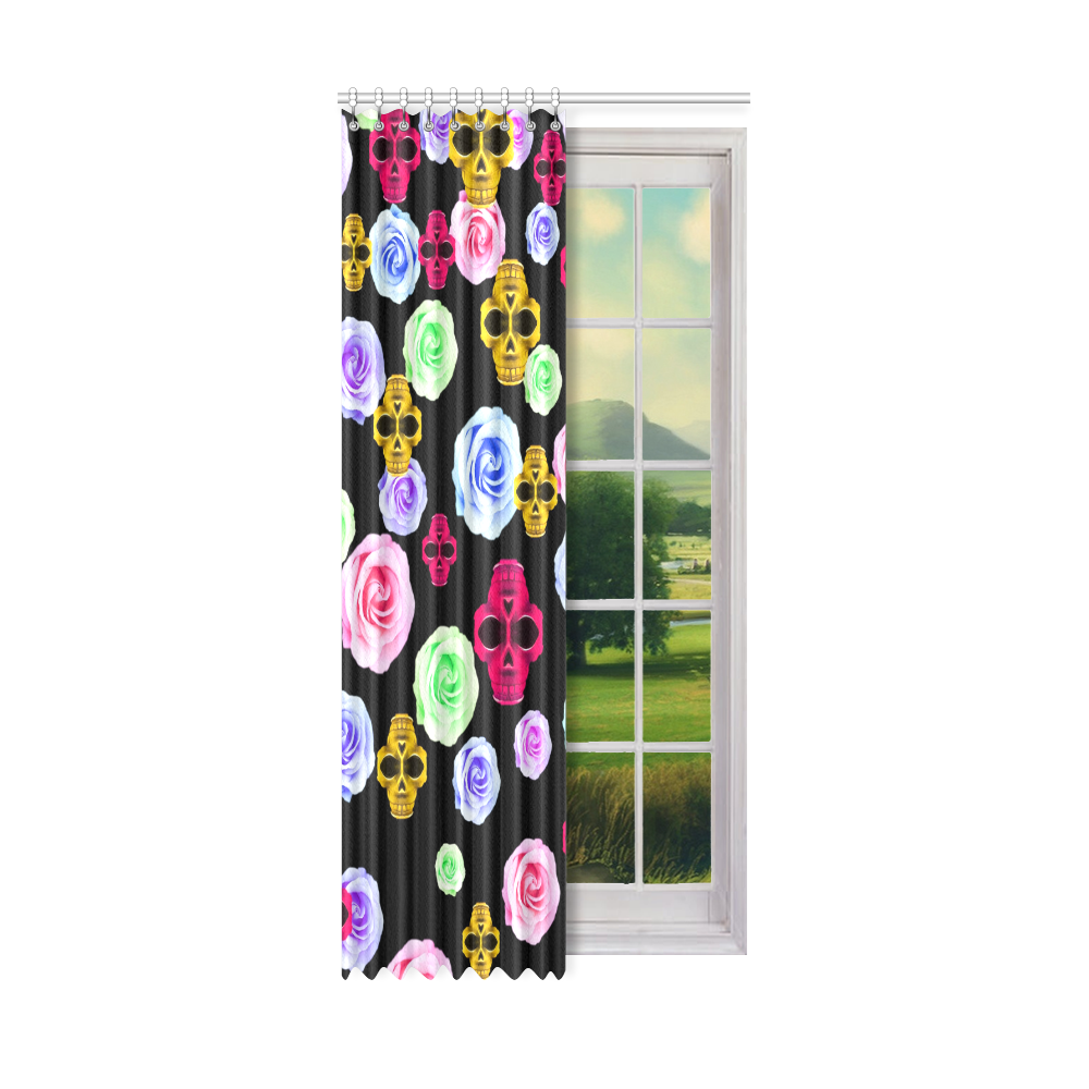 "skull portrait in pink and yellow with colorful rose and black background Window Curtain 50"" x 108""(One Piece)"
