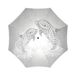 Funny dolphin, mandala design Foldable Umbrella (Model U01)