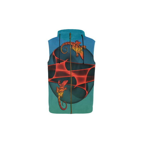 FRACTAL GECKO All Over Print Sleeveless Zip Up Hoodie for Kid (Model H16)