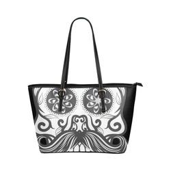 Sugar Skull Floral Pattern Beard Leather Tote Bag/Large (Model 1651)