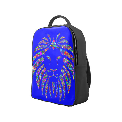 Abstract Lion Face Blue Popular Backpack (Model 1622)