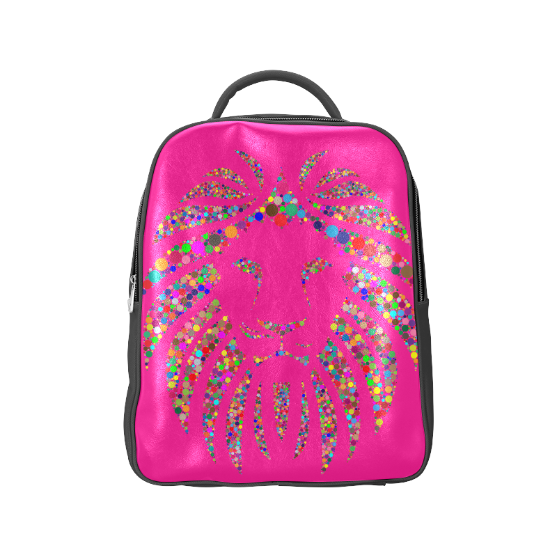 Abstract Lion Face Hot Pink Popular Backpack (Model 1622)