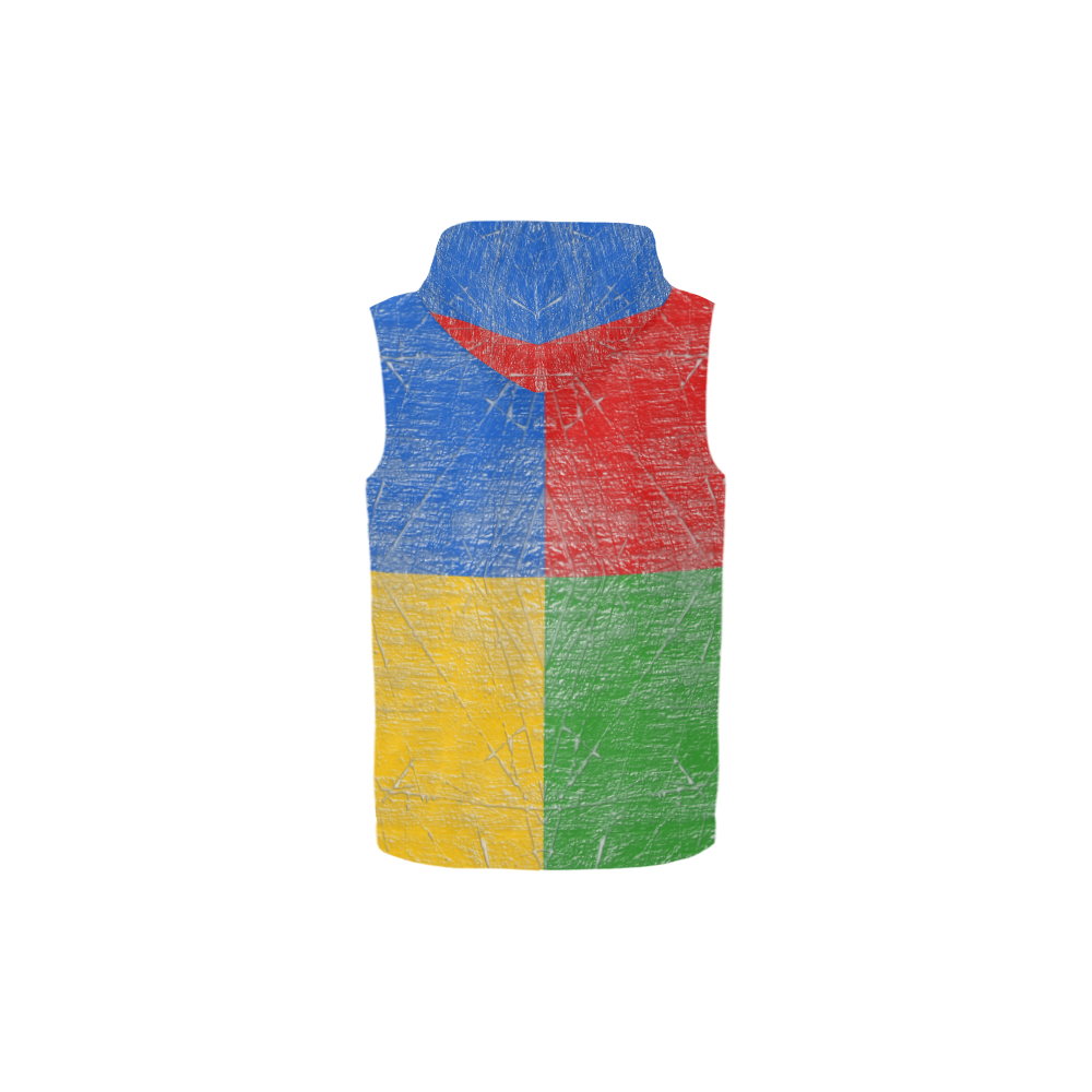 QUAD COLOR All Over Print Sleeveless Zip Up Hoodie for Kid (Model H16)