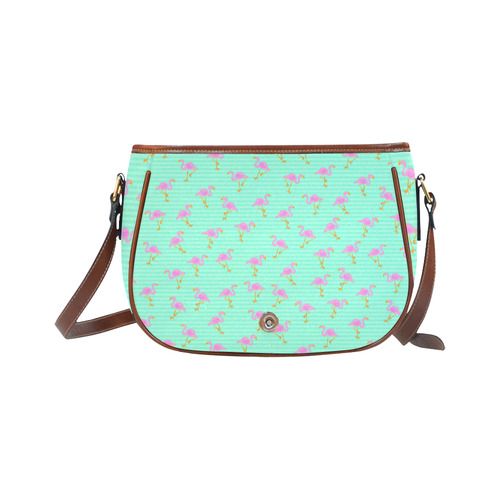 Pink and Green Flamingo Pattern Saddle Bag/Small (Model 1649) Full Customization