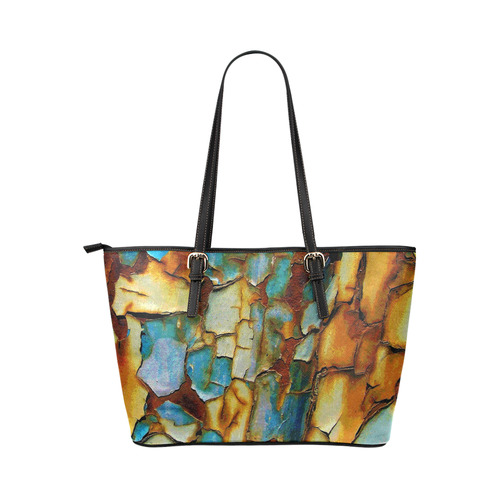 Rusty texture Leather Tote Bag/Large (Model 1651)