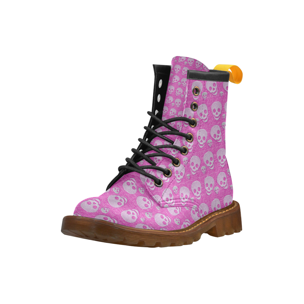 SKULLS PINK High Grade PU Leather Martin Boots For Women Model 402H