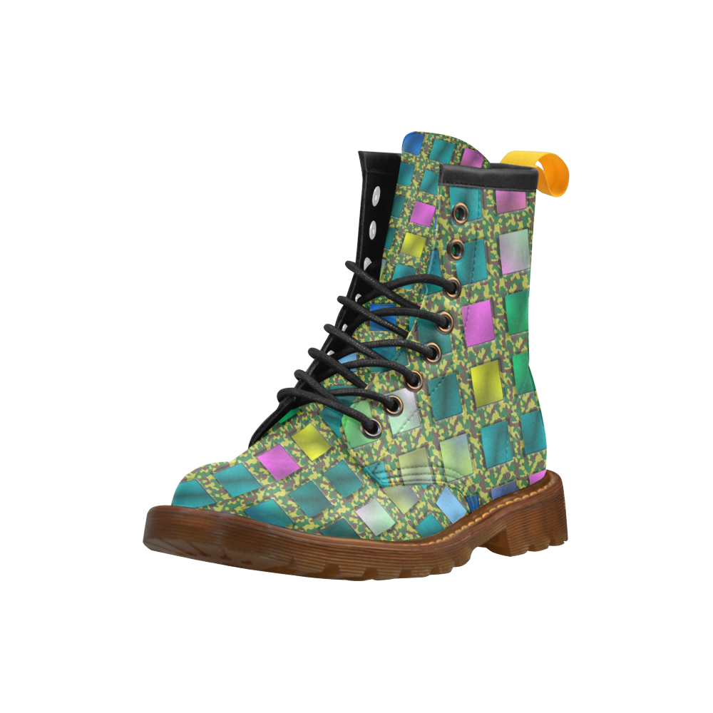 CAMOUFLAGE KARO High Grade PU Leather Martin Boots For Women Model 402H