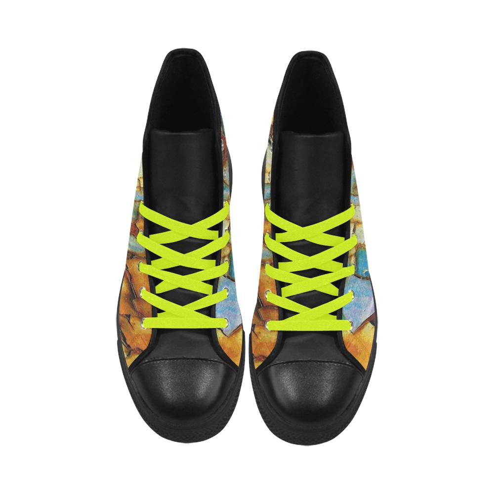 Rusty texture Aquila High Top Microfiber Leather Men's Shoes (Model 027)