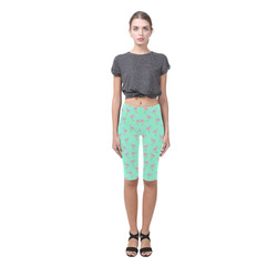 Pink and Green Flamingo Pattern Hestia Cropped Leggings (Model L03)