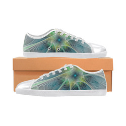 Floral Fantasy Abstract Blue Green Fractal Flower Women's Canvas Shoes (Model 016)