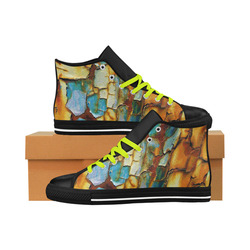 Rusty texture Aquila High Top Microfiber Leather Women's Shoes (Model 027)