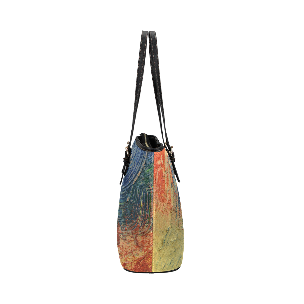 3 colors paint Leather Tote Bag/Large (Model 1651)