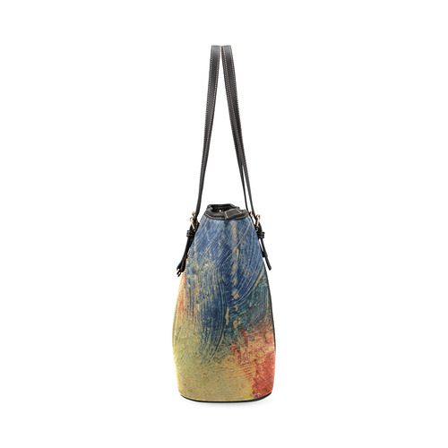 3 colors paint Leather Tote Bag/Large (Model 1640)