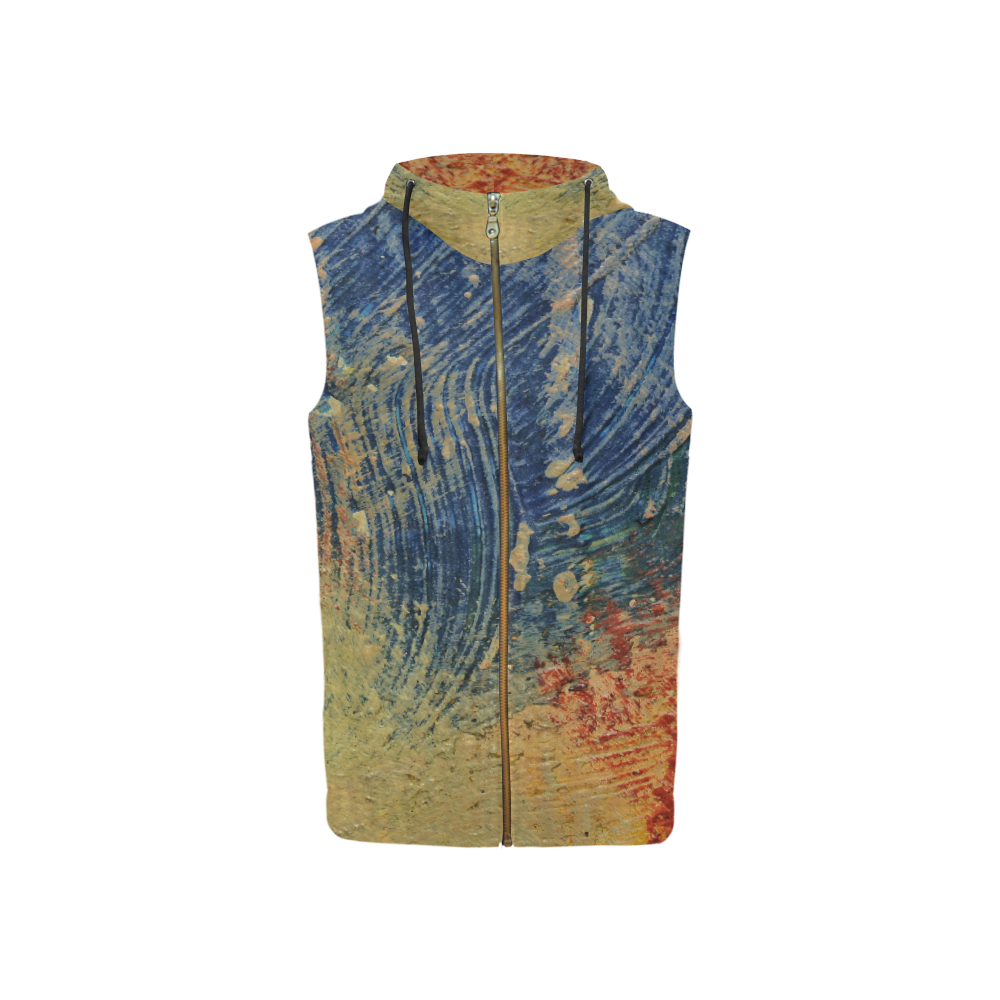 3 colors paint All Over Print Sleeveless Zip Up Hoodie for Women (Model H16)