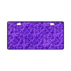 Vintage Leaf Purple License Plate