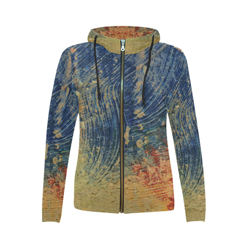 3 colors paint All Over Print Full Zip Hoodie for Women (Model H14)