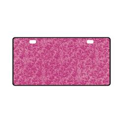 Vintage Leaf Fuchsia Pink License Plate