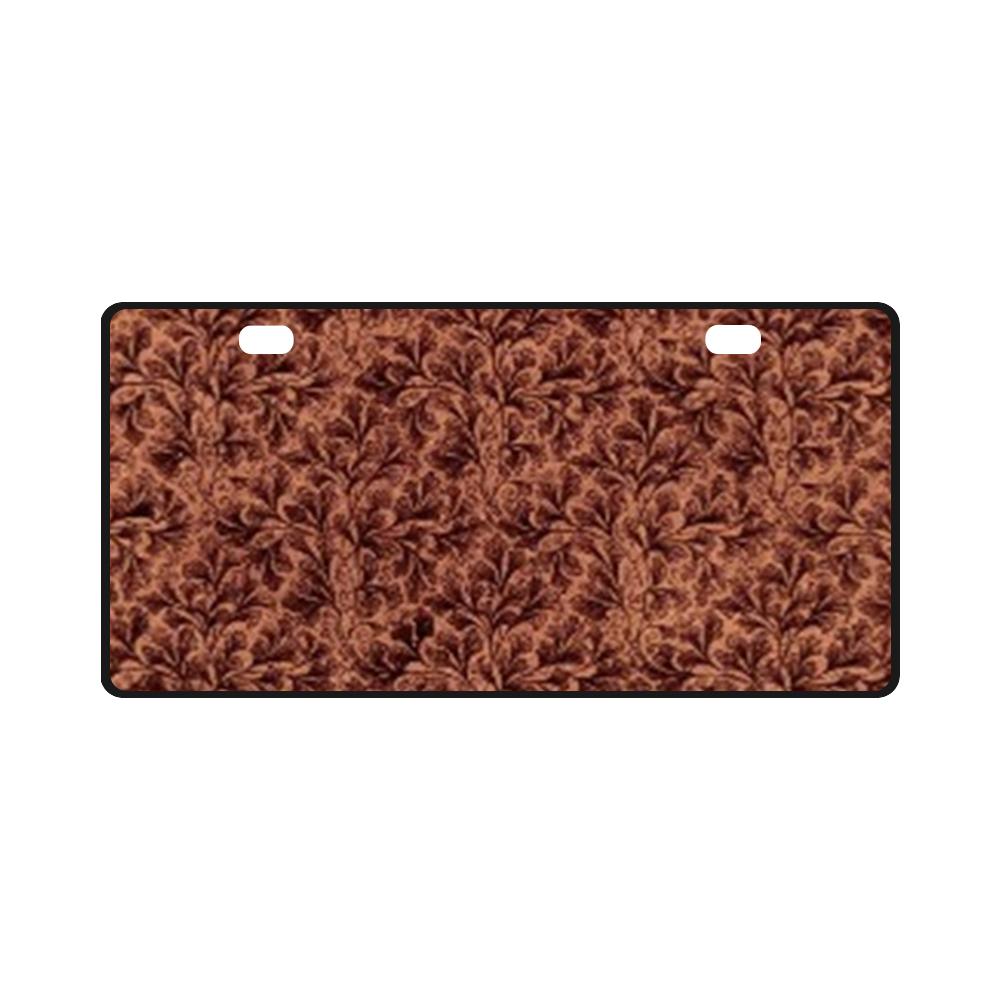 Vintage Leaf Brown License Plate