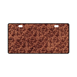 Vintage Leaf Brown License Plate