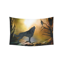 "Lonely wolf in the night Cotton Linen Wall Tapestry 60""x 40"""