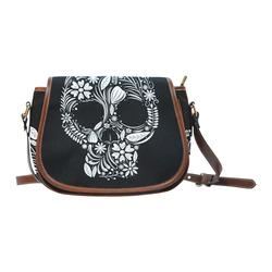 White Floral Dia de los Muertos Skull Saddle Bag/Small (Model 1649) Full Customization