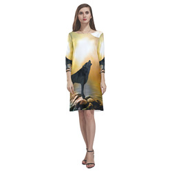 Lonely wolf in the night Rhea Loose Round Neck Dress(Model D22)