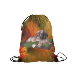 "Cute lttle pekinese, dog Medium Drawstring Bag Model 1604 (Twin Sides) 13.8""(W) * 18.1""(H)"