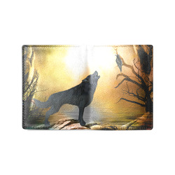 Lonely wolf in the night Men's Leather Wallet (Model 1612)