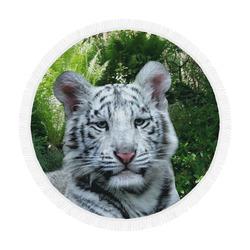 """White Tiger Circular Beach Shawl 59""""x 59"""""""