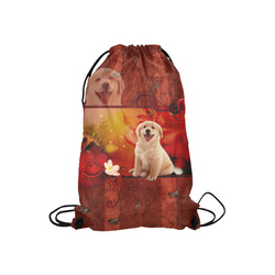 "Sweet golden retriever Small Drawstring Bag Model 1604 (Twin Sides) 11""(W) * 17.7""(H)"
