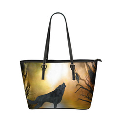 Lonely wolf in the night Leather Tote Bag/Large (Model 1651)