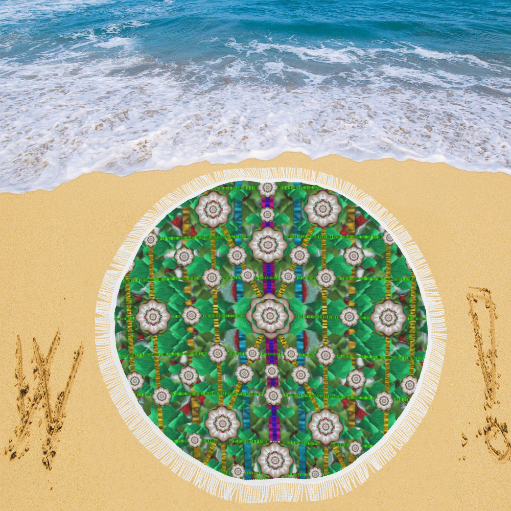 "pearl flowers in the glowing forest Circular Beach Shawl 59""x 59"""