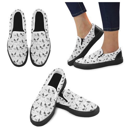 Crazy Herd of Sheep Women's Unusual Slip-on Canvas Shoes (Model 019)