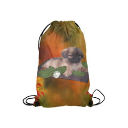 "Cute lttle pekinese, dog Small Drawstring Bag Model 1604 (Twin Sides) 11""(W) * 17.7""(H)"