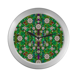 pearl flowers in the glowing forest Silver Color Wall Clock