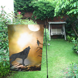 Lonely wolf in the night Garden Flag 12''x18''(Without Flagpole)