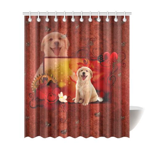 Sweet Golden Retriever Shower Curtain