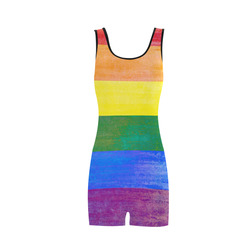 Rainbow Flag Colored Stripes Grunge Classic One Piece Swimwear (Model S03)