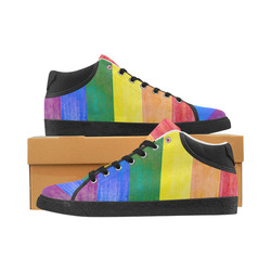 Rainbow Flag Colored Stripes Grunge Women's Chukka Canvas Shoes (Model 003)