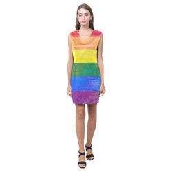 Rainbow Flag Colored Stripes Grunge Phoebe Sleeveless V-Neck Dress (Model D09)