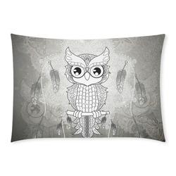 Cute owl, mandala design Custom Rectangle Pillow Case 20x30 (One Side)