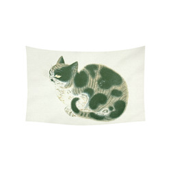 """Tabby Cat Vintage Chinese Painting Cotton Linen Wall Tapestry 60""""x 40"""""""