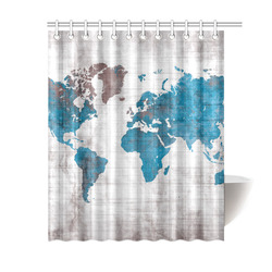 """world map Shower Curtain 60""""x72"""""""