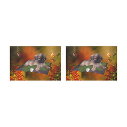 Cute lttle pekinese, dog Placemat 12'' x 18'' (Two Pieces)