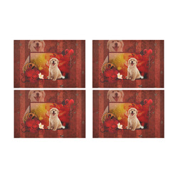 Sweet golden retriever Placemat 12'' x 18'' (Four Pieces)