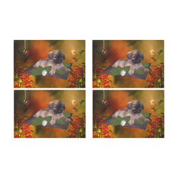 Cute lttle pekinese, dog Placemat 12'' x 18'' (Four Pieces)