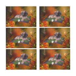 Cute lttle pekinese, dog Placemat 12'' x 18'' (Six Pieces)