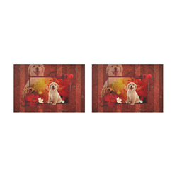 Sweet golden retriever Placemat 12'' x 18'' (Two Pieces)