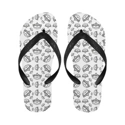 Queen Of Hearts Silver Crowns Tiaras By Kristie Hubler Repeat Pattern flip flops Flip Flops for Men/Women (Model 040)